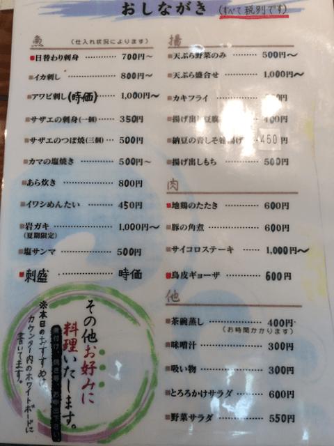 おしながき(魚・揚げ物・肉)