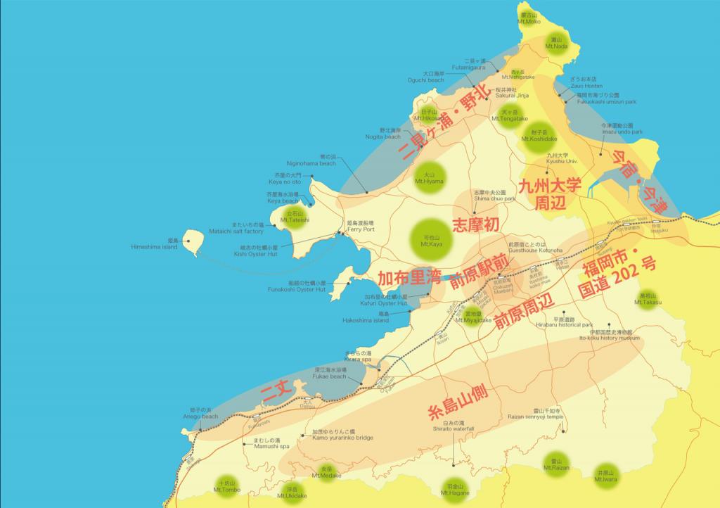 糸島カフェマップ(エリア別)