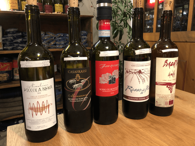 赤ワインのラインナップ